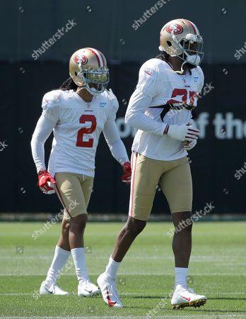 San Francisco 49ers defensive backs Jason Verrett, left, and Richard Sherman at the team's NFL football training camp in Santa Clara, Calif