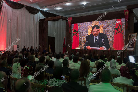 Moroccan officials watch a speech by King Mohammed VI in Rabat, Morocco, 29 July 2019, on the occasion of the 20th anniversary of his accession to the throne of the Kingdom of Morocco.