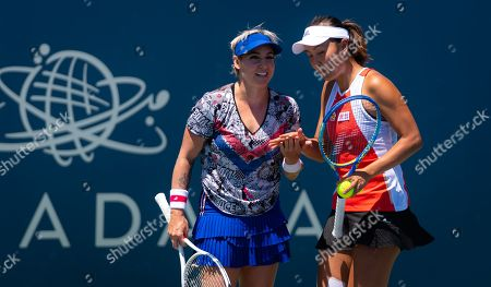 Bethanie Mattek-Sands of the United States playing doubles with Peng Shuai