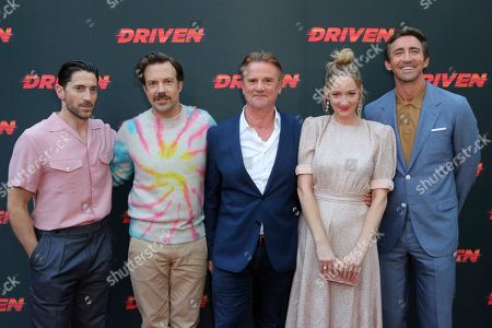 """Iddo Goldberg, Jason Sudeikis, Nick Hamm, Kim Raver, Lee Pace. Iddo Goldberg, from left, Jason Sudeikis, Nick Hamm, Kim Raver and Lee Pace attend the LA Premiere of """"Driven,"""" at the ArcLight Hollywood, in Los Angeles"""