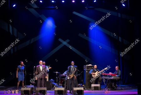 Stock Image of US jazz singer and saxophonist Maceo Parker (C) performs as part of the Splendid Festival Menorca 2019 at Principal theater in Mahon, Menorca island, Spain, late 29 July 2019 (issued 30 July 2019). The festival runs from 06 July to 08 August 2019.