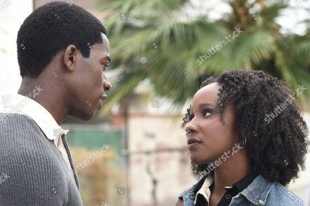 Stock Picture of Damson Idris as Franklin Saint and Joy Brunson as Nia