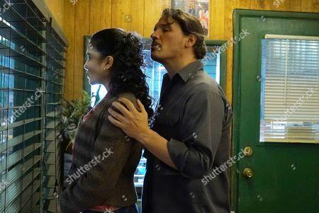 Emily Rios as Lucia Villanueva and Sergio Peris-Mencheta as Gustavo Zapata
