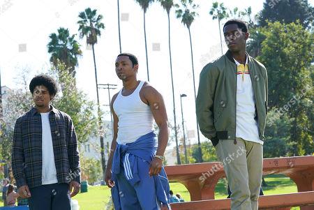 Isaiah John as Leon Simmons, Malcolm Mays Kevin Hamilton and Damson Idris as Franklin Saint