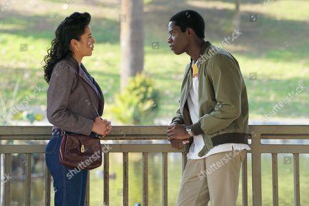 Emily Rios as Lucia Villanueva and Damson Idris as Franklin Saint