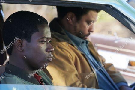 Damson Idris as Franklin Saint and DeRay Davis as Peaches