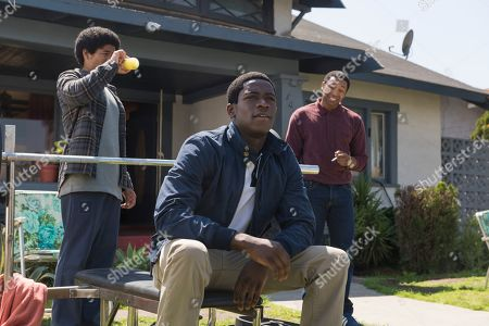 Isaiah John as Leon Simmons, Damson Idris as Franklin Saint and Malcolm Mays as Kevin Hamilton