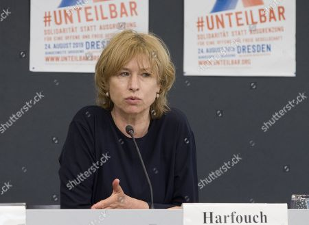 German actress, Corinna Harfouch, speaks during a press conference by the nationwide demonstration #unteilbar in Berlin, Germany, 30 July 2019. On 13 October 2018, a demonstration with the motto 'For an open and free society - solidarity instead of exclusion? took place in Berlin. The organizers announced a follow-up event which will take place in Dresden on 24 August 2019.