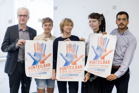 Stock Photo of (L-R) Dr. Hans-Juergen Urban, Executive Board Member of IG Metall, Susann Riske from LAG Girls and Young Women in Saxon, Corinna Harfouch, German actress, Lena Kittler from the marketplace and concert tour WannWennNichtJetzt (WhenWhyNotNow) and Ario Mirzaie from DeutschPlus (GermanPlus) pose prior to a press conference by the nationwide demonstration #unteilbar in Berlin, Germany, 30 July 2019. On 13 October 2018, a demonstration with the motto 'For an open and free society - solidarity instead of exclusion? took place in Berlin. The organizers announced a follow-up event which will take place in Dresden on 24 August 2019.