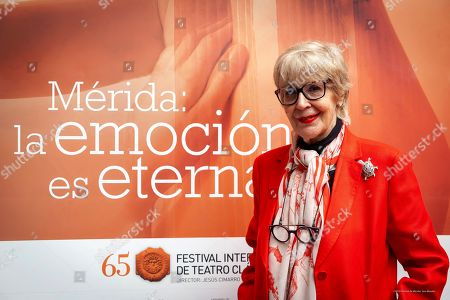 Concha Velasco poses before a press conference about the play 'Metamorphoses' by poet Ovid performed within Merida's International Festival of Classical Theater, in Merida, Spain, 29 July 2019 (issued 30 July 2019).