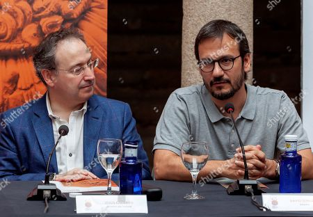 Theater director David Serrano (R), and director of Merida's International Festival of Classical Theatre, Jesus Cimarro (L), address a press conference about the play performed within Merida's International Festival of Classical Theater, in Merida, Spain, 29 July 2019 (issued 30 July 2019).
