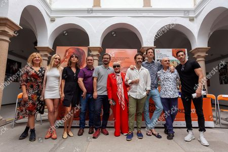 Theater director David Serrano (5-L) poses with cast members of the play 'Metamorphoses' by poet Ovid Pilar Castro, Maria Hervas, Belen Cuesta, Secun de la Rosa, Concha Velasco, Pepe Ocio, Edu Soto, Pepe Viyuela and Adrian Lastra during a press conference about the play performed within Merida's International Festival of Classical Theater, in Merida, Spain, 29 July 2019 (issued 30 July 2019).