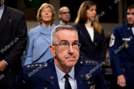 John Hyten, Laura Hyten. Gen. John Hyten, center, accompanied by his wife Laura, left, and his daughter Katie, second from right, arrives for a Senate Armed Services Committee on Capitol Hill in Washington, for his confirmation hearing to be Vice Chairman of the Joint Chiefs of Staff