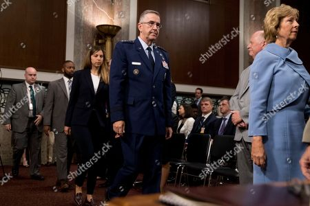 John Hyten, Laura Hyten. Gen. John Hyten, center, accompanied by his wife Laura, right, and his daughter Katie, center left, arrives for a Senate Armed Services Committee on Capitol Hill in Washington, for his confirmation hearing to be Vice Chairman of the Joint Chiefs of Staff