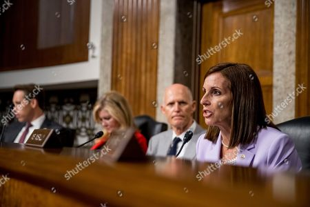 Martha McSally, Josh Hawley, Marsha Blackburn, Rick Scott. Sen. Martha McSally, R-Ariz., right, accompanied by from left, Sen. Josh Hawley, R-Mo., Sen. Marsha Blackburn, R-Tenn., and Sen. Rick Scott, R-Fla., speaks during a Senate Armed Services Committee hearing on Capitol Hill in Washington, for the confirmation hearing of Gen. John Hyten to be Vice Chairman of the Joint Chiefs of Staff