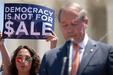 United States Senator Tom Udall (Democrat of New Mexico) speaks at a press conference outside of the Supreme Court in Washington D.C.