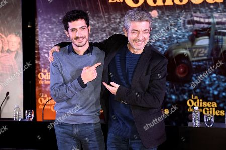 Argentinian actors Ricardo Darin (R) and his son Chino Darin pose during a press conference in which they presents their latest film 'La odisea de los giles', which star and produce together, under the direction of Sebastian Borensztein, in Buenos Aires, Argentina, 30 July 2019. The film, based on Eduardo Sacheri's novel 'La Noche de la Usina', will premiere in Argentinian theaters on 15 August.