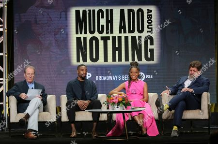 """David Horn, Grantham Coleman, Margaret Odette, Oskar Eustis. Executive producer David Horn, from left, Grantham Coleman, Margaret Odette and Oskar Eustis, artistic director, The Public Theater, participate in PBS's """"Much Ado About Nothing"""" panel at the Television Critics Association Summer Press Tour, in Beverly Hills, Calif"""