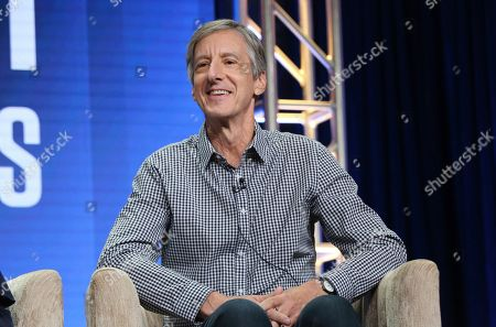 """Andy Borowitz speaks in PBS's """"Retro Report"""" panel at the Television Critics Association Summer Press Tour, in Beverly Hills, Calif"""