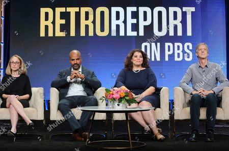 """Stock Photo of Kyra Darnton, Masud Olufani, Celeste Headlee, Andy Borowitz. Executive producer Kyra Darnton, from left, Masud Olufani, Celeste Headlee and Andy Borowitz participate in PBS's """"Retro Report"""" panel at the Television Critics Association Summer Press Tour, in Beverly Hills, Calif"""
