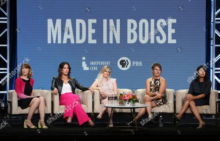 "Lois Vossen, Shannon Rayner, Nicole Williamson, Cindy Floyd, Beth Aala. Executive producer Lois Vossen, from left, Shannon Rayner, Nicole Williamson, nurse Cindy Floyd and director/producer Beth Aala participate in PBS's ""Made in Boise"" panel at the Television Critics Association Summer Press Tour, in Beverly Hills, Calif"