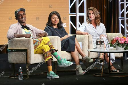 """Marcus Samuelsson, Pamela A. Aguilar, Vivian Howard. Host/chef Marcus Samuelsson, from left, Pamela A. Aguilar, senior director, programming and development, PBS, and chef/host Vivian Howard participate in PBS's """"No Passport Required"""" and """"South By Somewhere"""" panel at the Television Critics Association Summer Press Tour, in Beverly Hills, Calif"""
