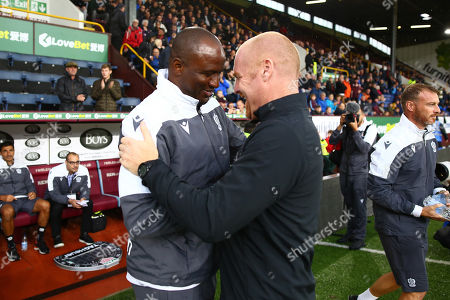 Patrick Vieira, head coach of Nice greets Manager of Burnley, Sean Dyche