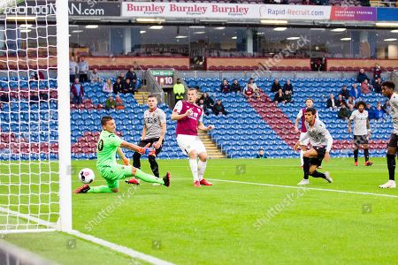Burnley forward Sam Vokes scores a goal to make it 1-0 in the first half  during the Burnley vs Nice friendly match at Turf Moor, Burnley
