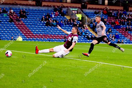 Burnley forward Sam Vokes attempt a goal during the Burnley vs Nice friendly match at Turf Moor, Burnley