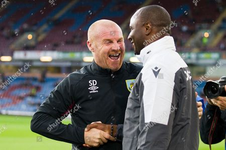 Sean Dyche and Patrick Vieira shaking hands                                          during the Burnley vs Nice friendly match at Turf Moor, Burnley