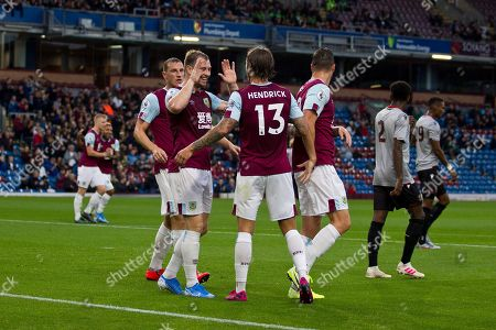 Burnley forward Sam Vokes celebrate his goal with team-mates during the Burnley vs Nice friendly match at Turf Moor, Burnley