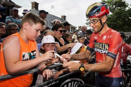 Italian Vincenzo Nibali signs autographs before the start of the  Professional Round of Surhuisterveen, Netherlands 30 July 2019. The pro criterion is held annually on the Tuesday following the Tour de France.