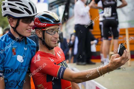 Stock Image of Italian Vincenzo Nibali poses for a selfie before the  Professional Round of Surhuisterveen, Netherlands 30 July 2019. The pro criterion is held annually on the Tuesday following the Tour de France.