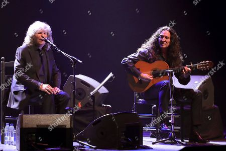 Jose Merce (L) performs on stage during his concert accompanied by Spanish guitar player Tomatito (R) at the Spanish Royal Theater in Madrid, Spain, 30 July 2019, after being awarded the 'Diamond Album' in the framework of the Universal Music Festival.