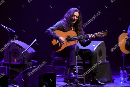 Tomatito performs on stage during his concert accompanying Spanish singer Jose Merce (not pictured) at the Spanish Royal Theater in Madrid, Spain, 30 July 2019.