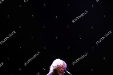 Stock Picture of Jose Merce performs on stage during his concert accompanied by Spanish guitar player 'Tomatito' (not pictured) at the Spanish Royal Theater in Madrid, Spain, 30 July 2019, after being awarded the 'Diamond Album' in the framework of the Universal Music Festival.