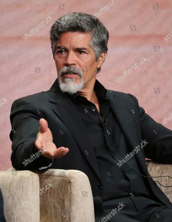"""Esai Morales participates in PBS's """"Raul Julia: The World's a Stage"""" panel at the Television Critics Association Summer Press Tour, in Beverly Hills, Calif"""