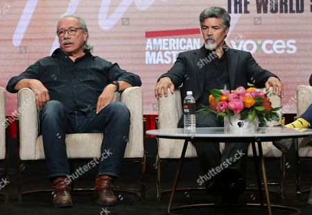 """Edward James Olmos, Esai Morales. Edward James Olmos, left, and Esai Morales participate in PBS's """"Raul Julia: The World's a Stage"""" panel at the Television Critics Association Summer Press Tour, in Beverly Hills, Calif"""