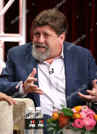 """Oskar Eustis, artistic director of The Public Theater, participates in PBS's """"Raul Julia: The World's a Stage"""" panel at the Television Critics Association Summer Press Tour, in Beverly Hills, Calif"""