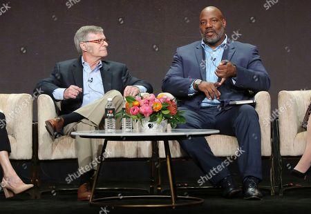 "David M. Oshinsky, Jelani Cobb. Author David M. Oshinsky, left, and journalist Jelani Cobb participate in PBS's ""McCarthy"" panel at the Television Critics Association Summer Press Tour, in Beverly Hills, Calif"