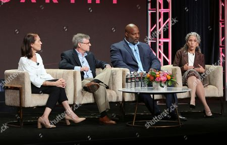 """Stock Photo of Susan Bellows, David M. Oshinsky, Jelani Cobb, Sharon Grimberg. Producer Susan Bellows, from left, author David M. Oshinsky, journalist Jelani Cobb and writer/director/producer Sharon Grimberg participate in PBS's """"McCarthy"""" panel at the Television Critics Association Summer Press Tour, in Beverly Hills, Calif"""