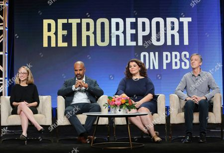 """Kyra Darnton, Masud Olufani, Celeste Headlee, Andy Borowitz. Executive producer Kyra Darnton, from left, Masud Olufani, Celeste Headlee and Andy Borowitz participate in PBS's """"Retro Report"""" panel at the Television Critics Association Summer Press Tour, in Beverly Hills, Calif"""