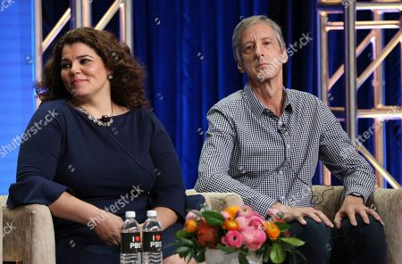 """Celeste Headlee, Andy Borowitz. Celeste Headlee, left, and Andy Borowitz participate in PBS's """"Retro Report"""" panel at the Television Critics Association Summer Press Tour, in Beverly Hills, Calif"""