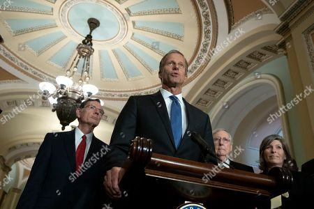 United States Senator John Thune (Republican of South Dakota) speaks at a press conference following weekly policy luncheons on Capitol Hill in Washington D.C.