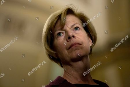 Stock Photo of United States Senator Tammy Baldwin (Democrat of Wisconsin) speaks at a press conference following weekly policy luncheons on Capitol Hill in Washington D.C.
