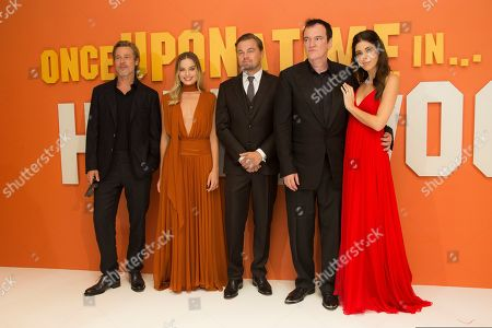 Brad Pitt, Margot Robbie, Leonardo DiCaprio, Quentin Tarantino, Daniela Pick. From left, actors Brad Pitt, Margot Robbie, Leonardo DiCaprio, director Quentin Tarantino and his wife Daniela Pick pose for photographers upon arrival at the UK premiere of Once Upon A Time in Hollywood, in London