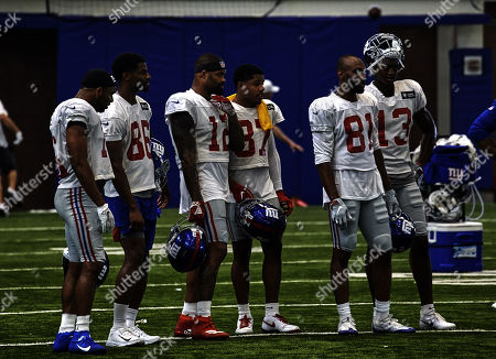, 2019, East Rutherford, New Jersey, USA: New York Giants wide receivers Golden Tate (15), Darius Slayton (86), Cody Latimer (12), Sterling Shepard (87), Russell Shepard (81) and Reggie White, Jr (13) during training camp at the Quest Diagnostics Training Center in East Rutherford, New Jersey