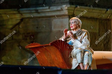 Stock Photo of Concha Velasco (C) performs Ovid's 'Metamorphoses', adapted by US theater director Mary Zimmerman, at the Roman Theater as part of International Classic Theater in Merida, Spain, late 30 July 2019 (issued on 31 July 2019). The play, directed by David Serrano, is premiered as part of the festival running 27 June to 25 August.