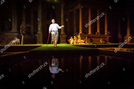 Pepe Viyuela (C) performs Ovid's 'Metamorphoses', adapted by US theater director Mary Zimmerman, at the Roman Theater as part of International Classic Theater in Merida, Spain, late 30 July 2019 (issued on 31 July 2019). The play, directed by David Serrano, is premiered as part of the festival running 27 June to 25 August.