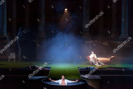 Actors perform Ovid's 'Metamorphoses', adapted by US theater director Mary Zimmerman, at the Roman Theater as part of International Classic Theater in Merida, Spain, late 30 July 2019 (issued on 31 July 2019). The play, directed by David Serrano, is premiered as part of the festival running 27 June to 25 August.